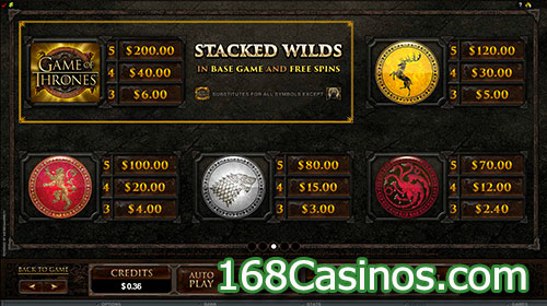 Game of Thrones 15 Lines Online Slot - Pay Table