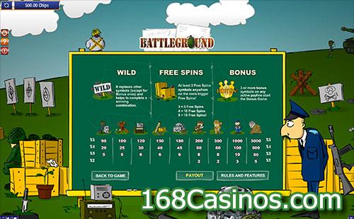 Battleground Spins Slot - Pay Table