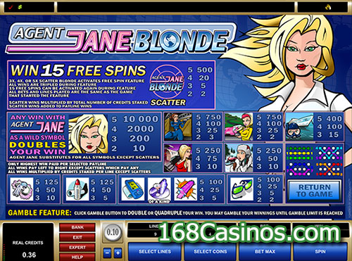 Agent Jane Blonde Slot Pay Table