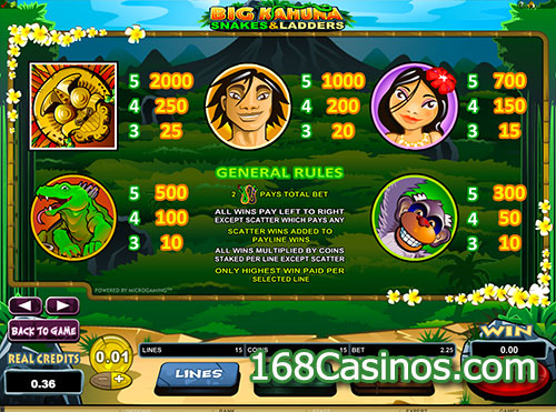 Big Kahuna Snakes & Ladders Slot Pay Table