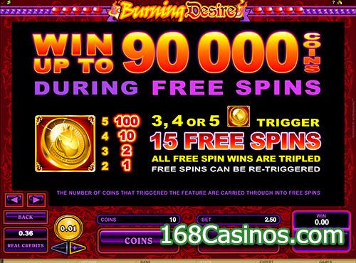 Burning Desire Slot Free Spin Bonus