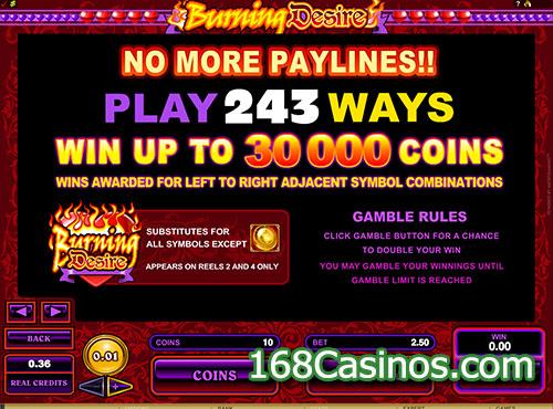 Burning Desire Slot Payout