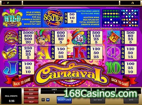 Carnival Slot Pay Table