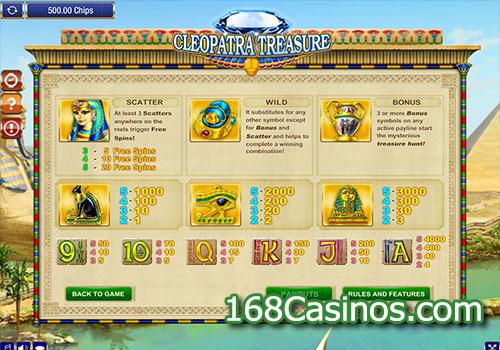 Cleopatra Treasure Slot Pay Table