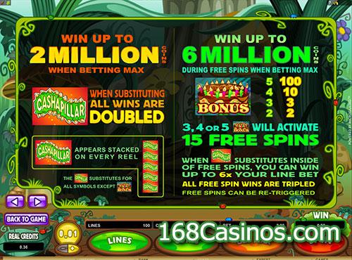 Cashpillar Slot Bonus