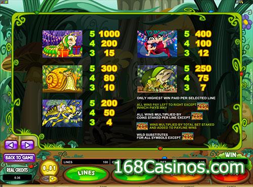 Cashpillar Slot Pay Table