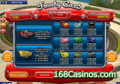 Freaky Cars Slot Paytable