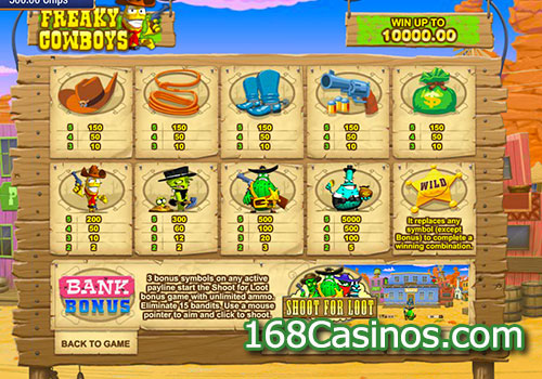 Freaky Cowboys Slot Paytable