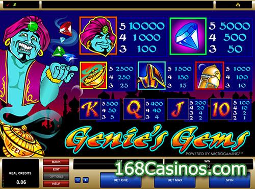 Genies Gems Slot Paytable