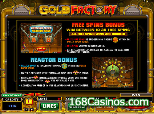Gold Factory Slot Free Spins Bonus