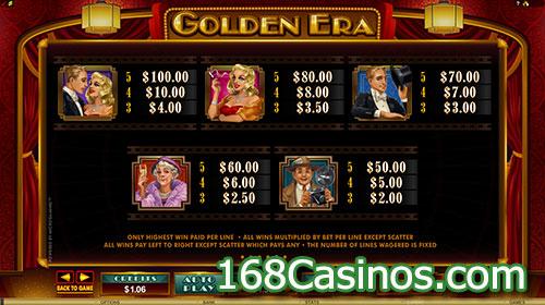 Golden Era Slot Paytable