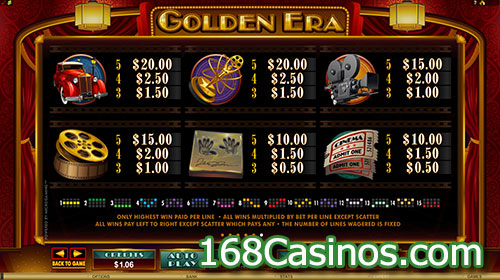 Golden Era Video Slot Pay line