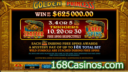 Golden Princess Slot Free Spins Bonus