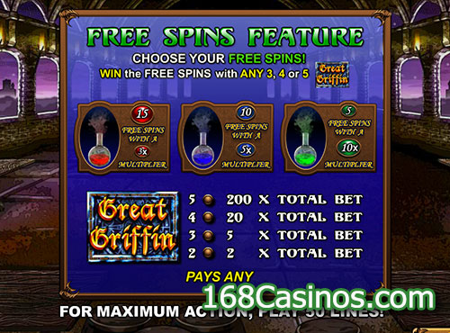 Great Griffin Video Slot Free Spins Feature