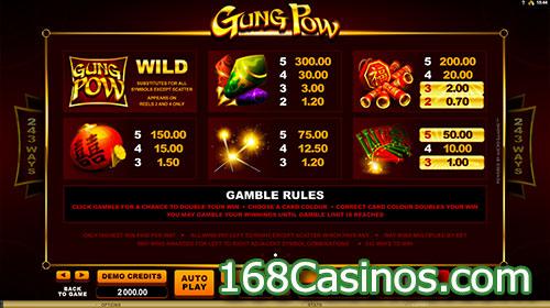 Gung Pow Slot Paytable