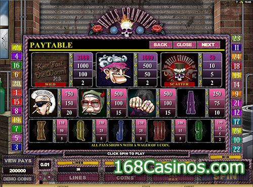 Hells Grannies Slot Paytable