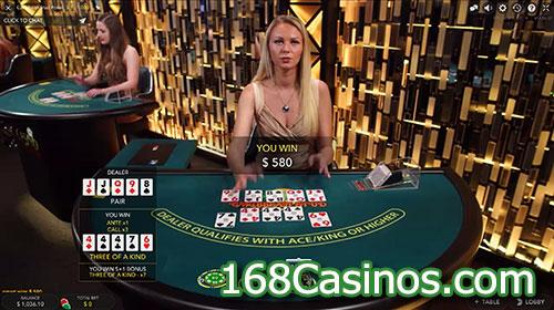 Live Caribbean Stud Poker Game