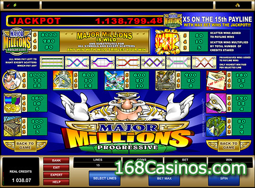 Major Millions 5 Reel Slot Payline