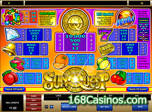 SunQuest Slot Paytable
