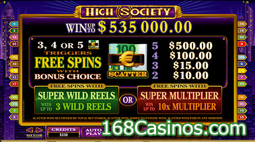 High Society Slot Free Spins Symbols