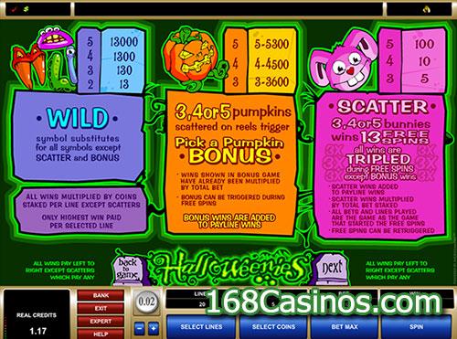 Halloweenies Slot Paytable