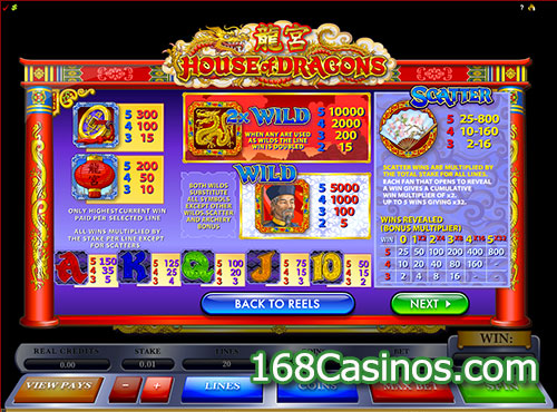 House of Dragons Slot Paytable