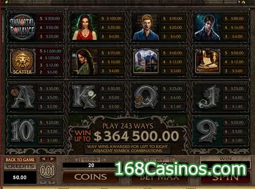 Immortal Romance Video Slot Paytable