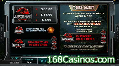 Jurassic Park Online Slot - Paytable