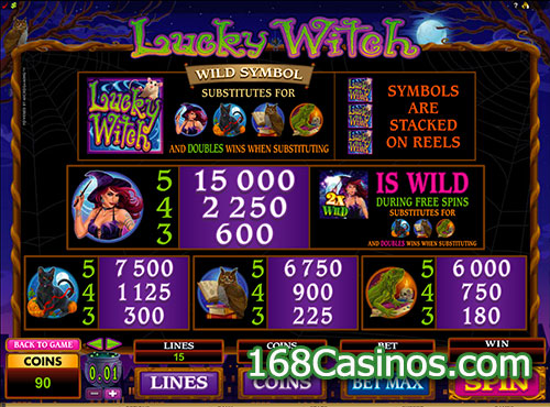 Lucky Witch Video Slot - Paytable