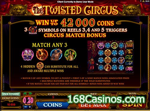 The Twisted Circus Slot Bonus Games
