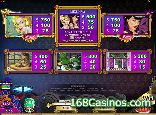 Hot Ink Video Slot Paytable