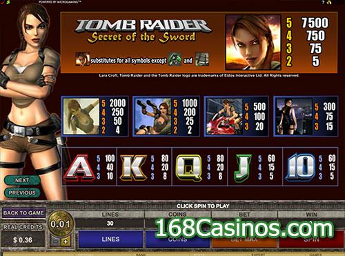 Tomb Raider II - Secret of the Sword Video Slot Paytable