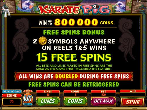 Karate Pig Video Slot Free Spins Bonus