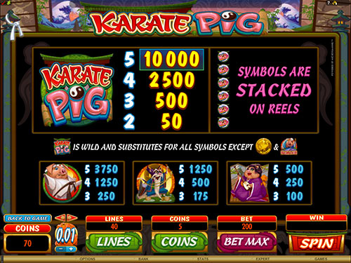 Karate Pig Video Slot Paytable