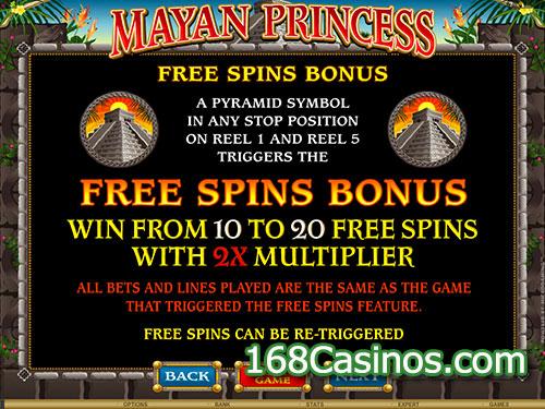 Mayan Princess Slot - Free Spins Bonus