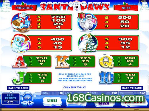 Santa Paws Slot Paytable