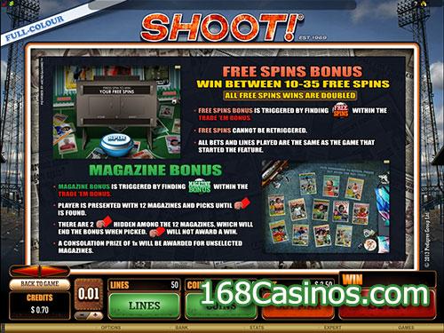 Shoot Video Slot Free Spin Bonus