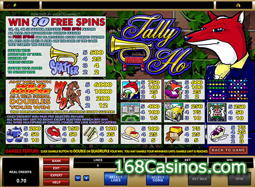Tally Ho Slot Paytable