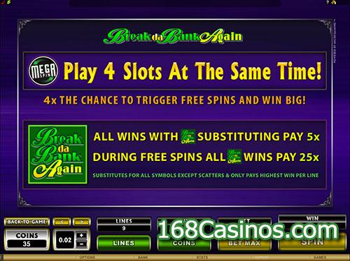 Mega Spins Break da Bank Again Online Slot Free Spins