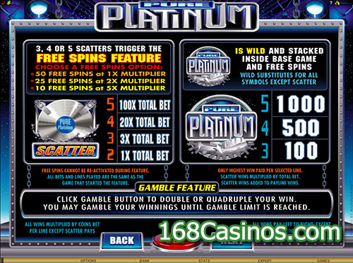 Pure Platinum Video Slot Free Spins Feature