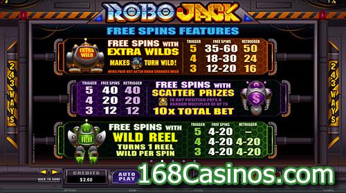 RoboJack Video Slot Free Spins Bonus