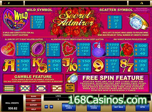 Secret Admirer Video Slot Paytable