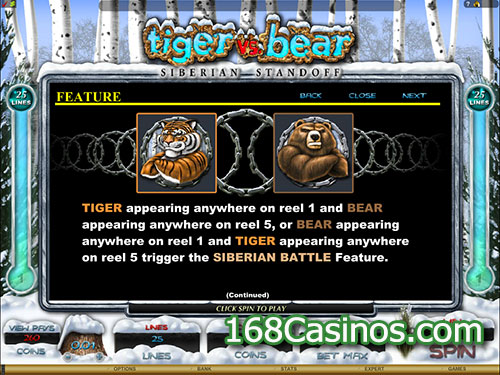 Tiger vs Bear Video Slot Siberian Standoff Feature