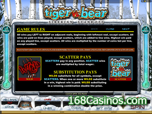 Tiger vs Bear Video Slot Game Rule