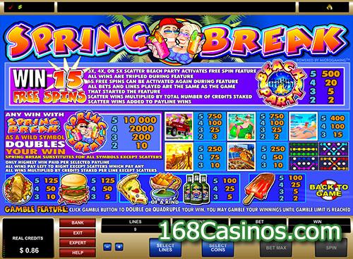 spring break casino game