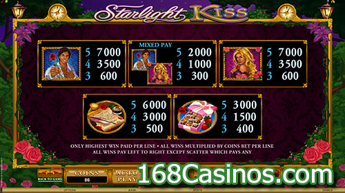 Starlight Kiss Video Slot Paytable