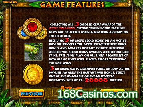 Aztec Treasures Video Slot - Game Features