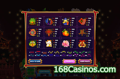 Midnight Lucky Sky Slot Paytable