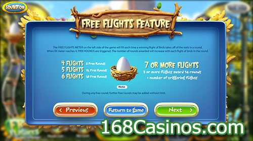 Birds Slot Free Flights Feature