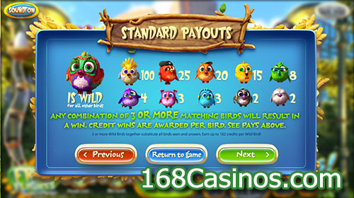 Birds Slot Standard Payout